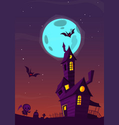 spooky old haunted house with ghosts vector image