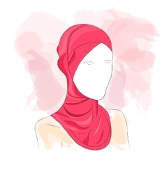 Woman dressed in colored hijab vector