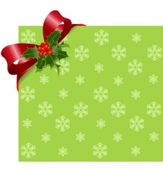 Christmas red ribbon on green vector image