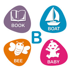 cute alphabet in b letter for book boat vector image vector image