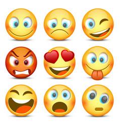emoji and sad icon set vector image