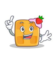 finger waffle character cartoon design vector image vector image