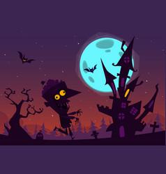 halloween cartoon background house vector image vector image