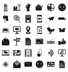 Post dispatch icons set simple style vector