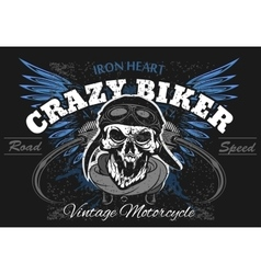 Rider skull with retro racer attributes Grunge vector image