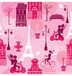 Seamless pattern with girls riding on scooter and vector image vector image