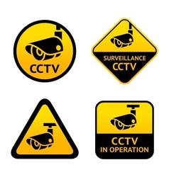 Video surveillance set signs vector image vector image
