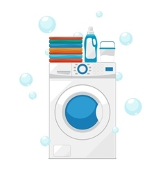 Washing machine and wash clothes vector image vector image