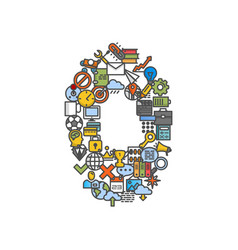 a set of phone icons shaped as zero number vector image