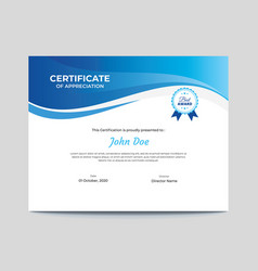 Abstract blue waves certificate design vector