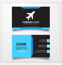Airplane icon business card template vector