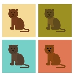 assembly flat icons nature cartoon panther vector image