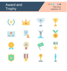 Award and trophy icons flat design collection 43 vector