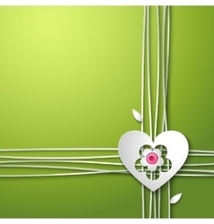 Background with love heart and flower vector image
