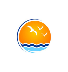 Beach seagul sunset nature logo vector