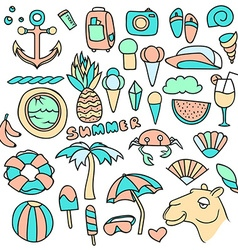 Big set of objects summer pineapple and vector