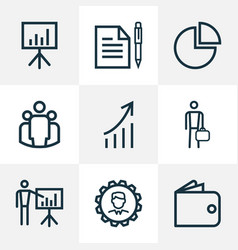 Business outline icons set collection of business vector
