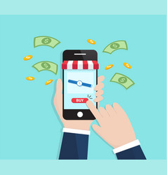 businessmen shopping online with smartphone vector image