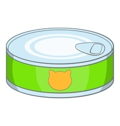 Canned food for cat icon cartoon style vector