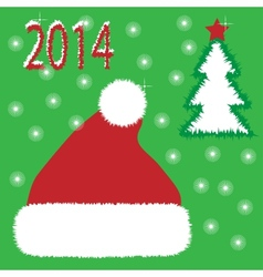 Card Red christmas hat vector