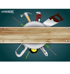 carpentry tools with wood plank vector image