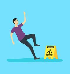 cartoon caution wet floor with character man vector image