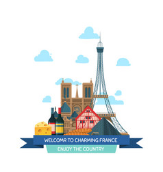 cartoon france sights and vector image