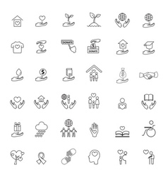 charity icons set vector image