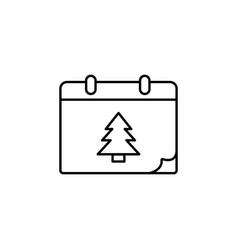 christmas calendar with christmas tree single icon vector image