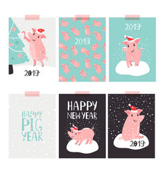 Christmas pig 2019 cards vector