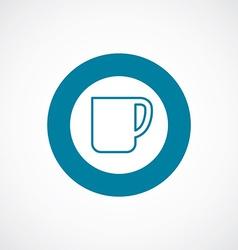 Coffee cup icon bold blue circle border vector