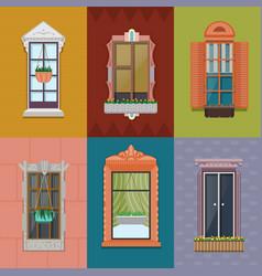 Colorful windows set vector