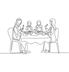 Continuous one line drawing arabian family eating vector