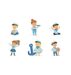 cute cheerful little boys and girls in sailor vector image