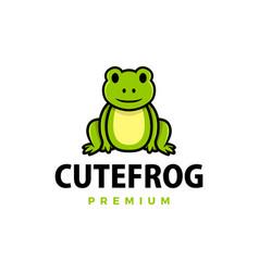 cute frog cartoon logo icon vector image