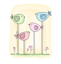 cute painted birds in watercolor style vector image