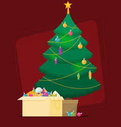 decorated christmas tree with gift boxes star vector image