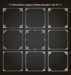 Decorative square frames and borders set 10 vector