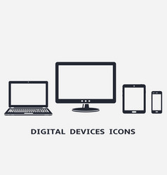 Device icons set smart phone tablet laptop and vector