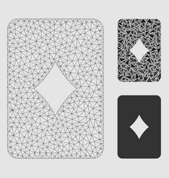 diamonds playing card mesh wire frame model vector image