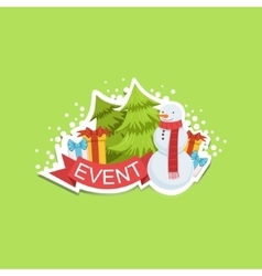 Event template label cute sticker with snowman and vector
