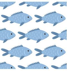 fish seamless pattern nature and marine theme vector image