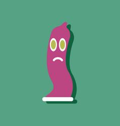 Flat icon design sad condom silhouette in sticker vector