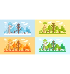 Flat Style Forest Scenery four stylized seasons vector image