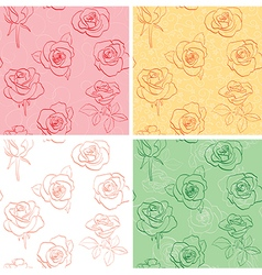 floral backgrounds with beautiful roses - set vector image