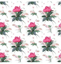 Floral pattern with peony flowers vector