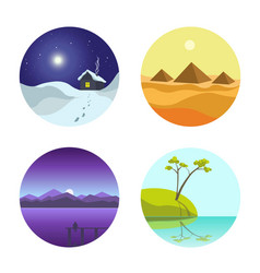 Four landscape colorful round pictures isolated vector