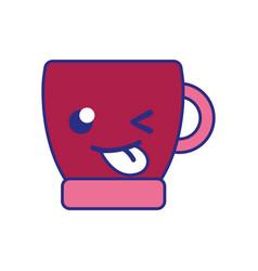 Full color funny coffee cup kawaii cartoon vector
