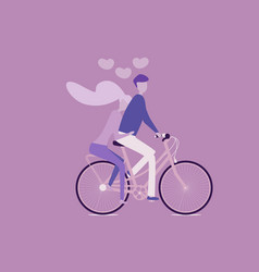 girl and boy on a bicycle love valentine s day vector image