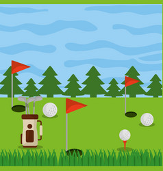 golf course field holes flag ball and bag clubs vector image
